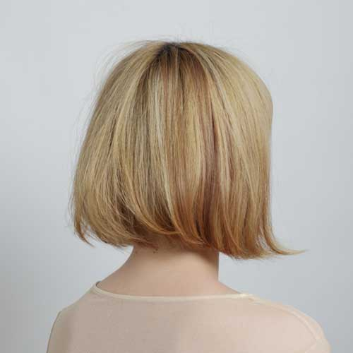 Short blond hair from behind