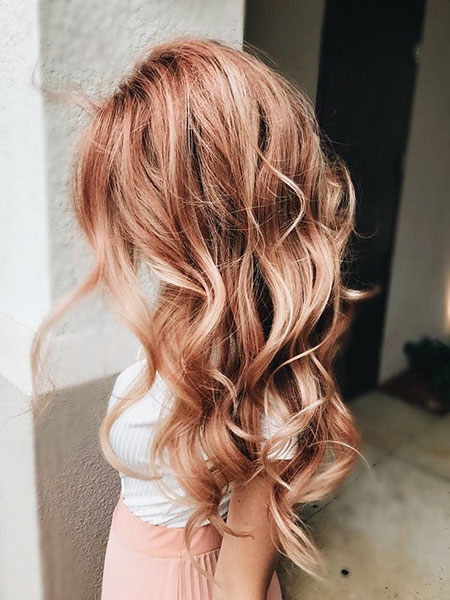 Gold Rose Blond Pink Ombre Head Colors Balayage