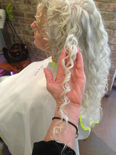 white wedding silver long gray curly gray curly braided