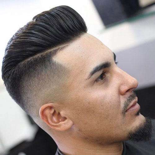 High skin spot with line up and pompadour