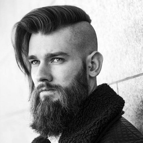 Long undercut comb with a thick beard