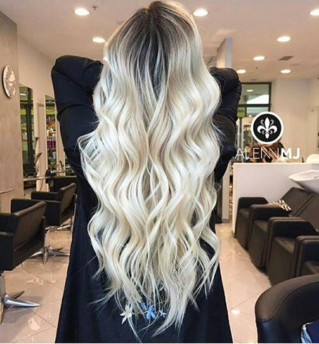 Blonde Balayage Ombre long dark curly 2017