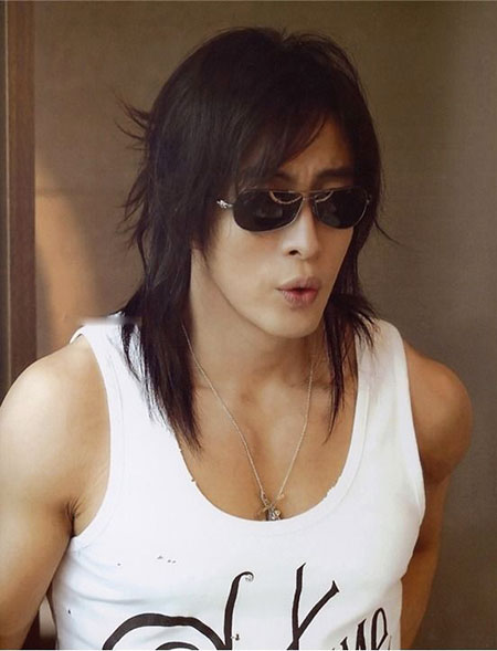 Hair with sunglasses, men, long, glass