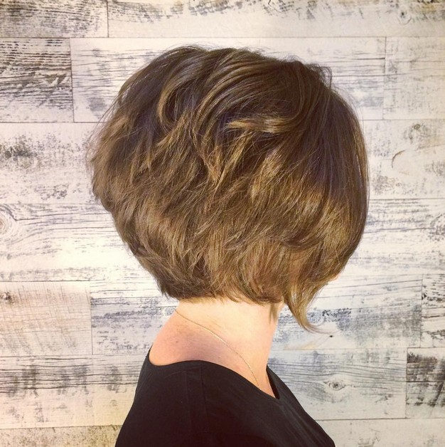 structured graduated bob hairstyle for short hair