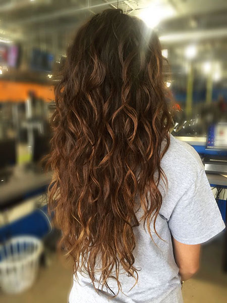 Curly Curls Beachy Waves Permanent Ombre Long Caramel