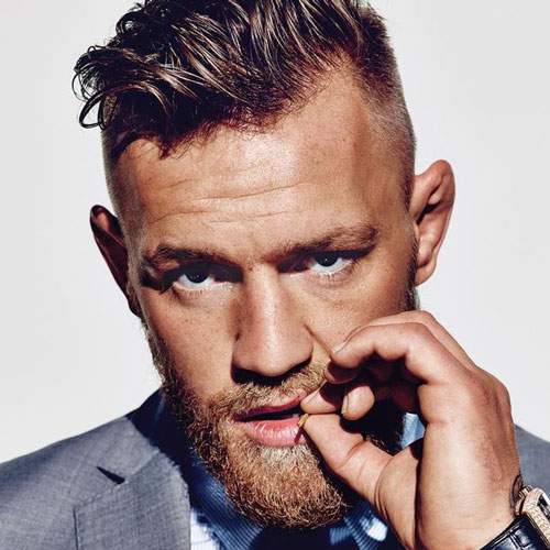 Conor McGregor Hairstyles - High Fade + Messy Quiff + Beard