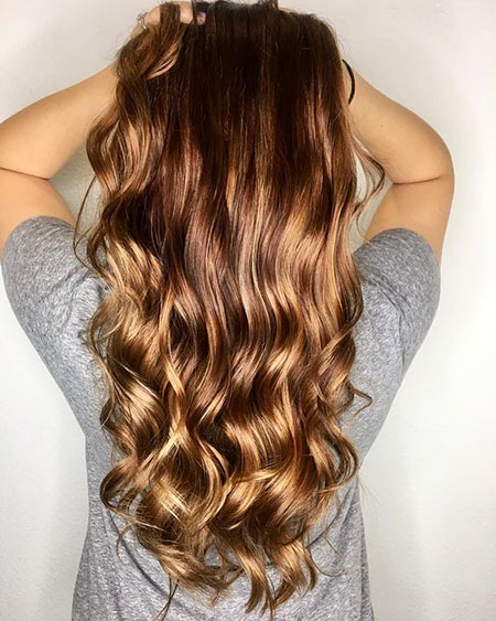 Balayage Waves Warm Tone Smooth Ombre Long Guest Day Curls Copper