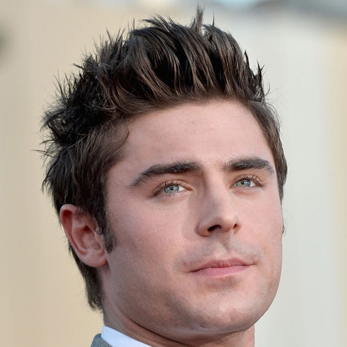 Zac Efron - Thick, textured, prickly hair + conical sides