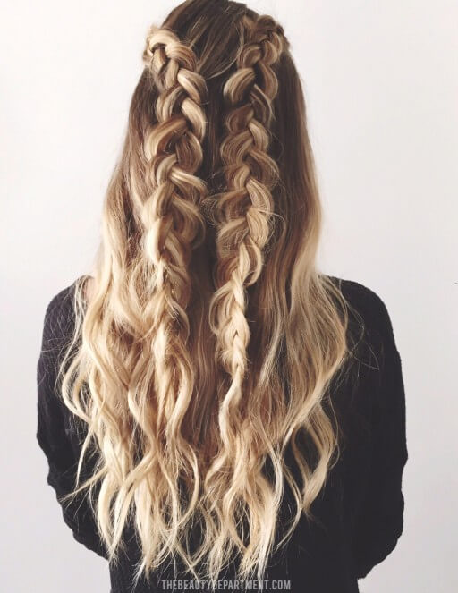 Join pigtail sides to flow over your hair