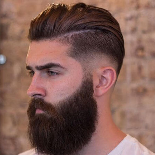 Mid fade with smooth back and beard