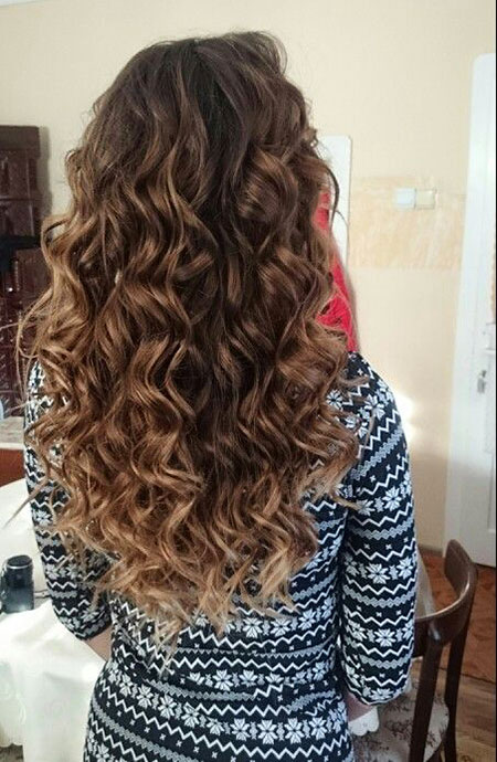 Curly Ombre Long Curly Brown Babylights