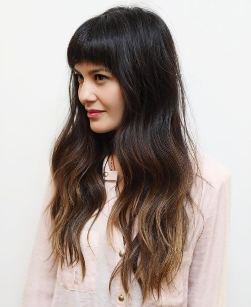 Blunt bangs with short layers