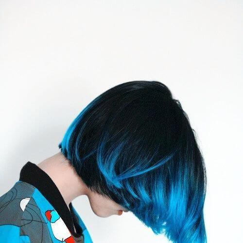 blue short hair with highlights