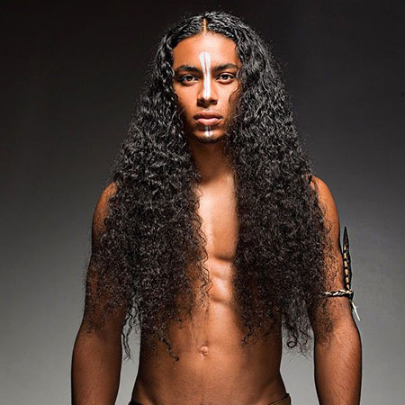 Sexy Hair, Natural, Men, Curly, Long, Black, Very, Simple