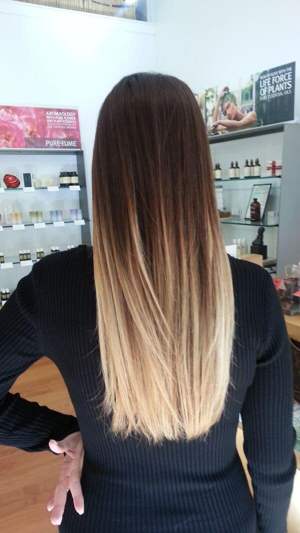 Silky straight bob with extra mature roots