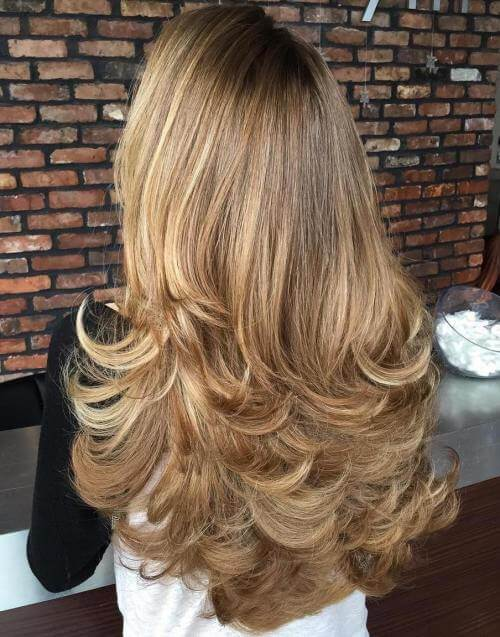 Long feathered blond layers