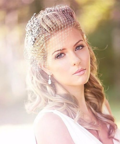 Vintage birdcage veil wedding hairstyles for long hair