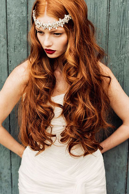 Red Wedding Long Little Golden Curly Brown