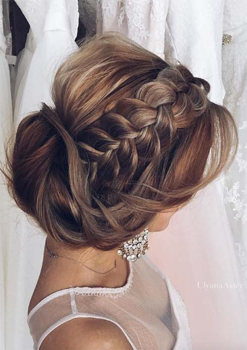 Stylish side braid with pinned up hair