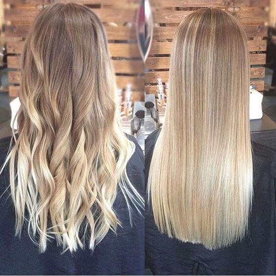 A long, medium, blonde ombre - hairstyle
