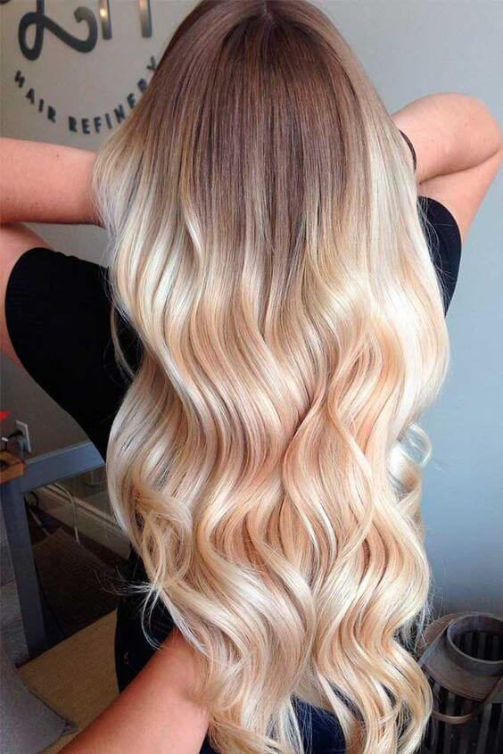 A charming shot on golden Ombre hair
