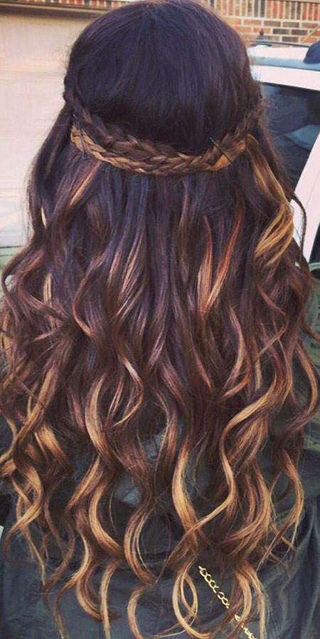Highlights Brown Ombre Dark, curly fashion