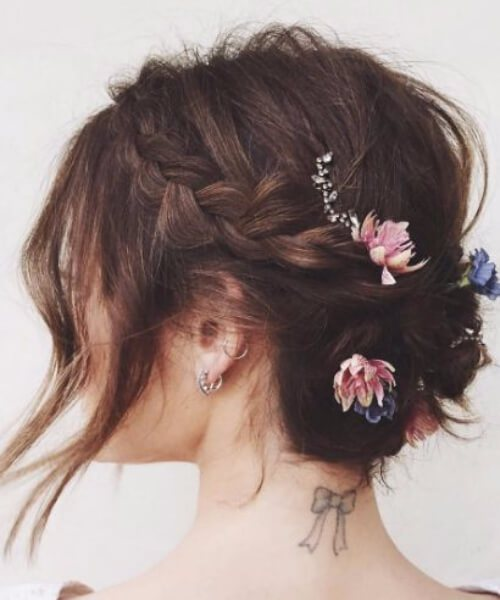 Updo for short hair with flowers