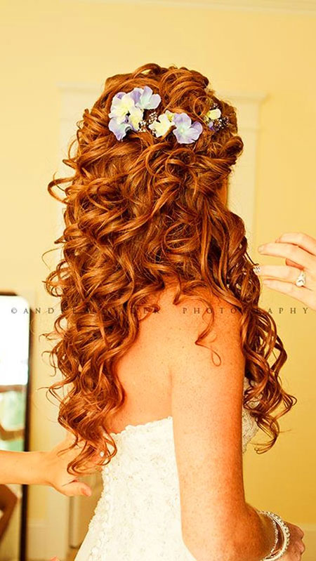 Curly wedding red prom long sweet curls
