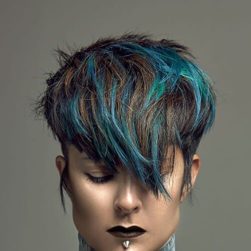 blue-green short hair with highlights