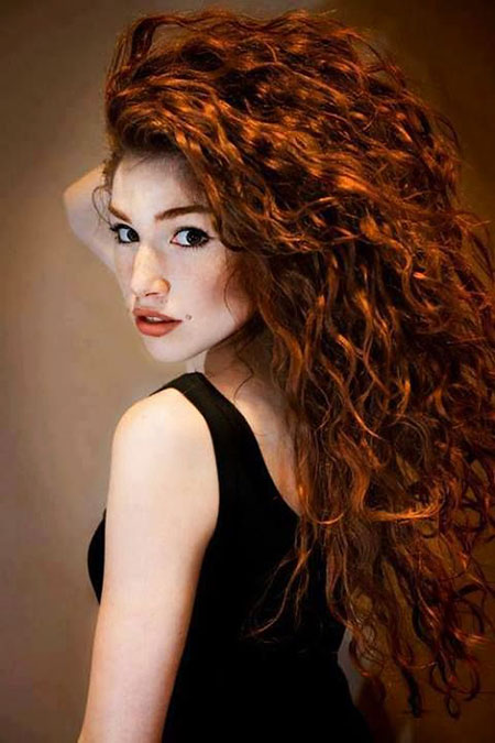 Curly Red Women Redheads Reddish Long Curls Brown