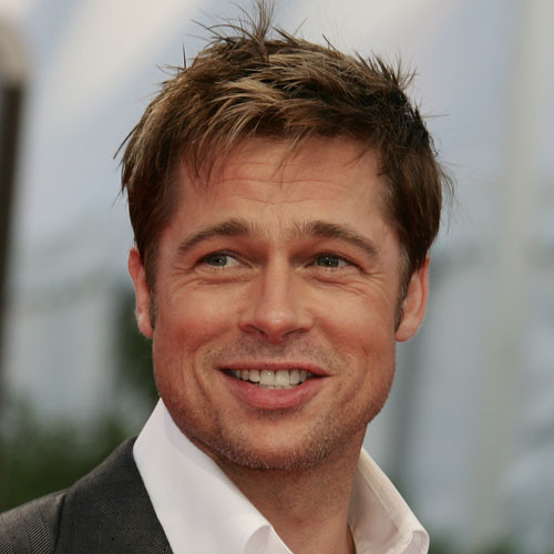 Brad Pitt Short Hair + Messy Top + Tapered Sides