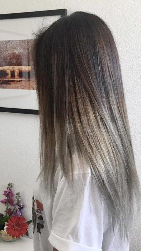 Silver toned ash brown hair color