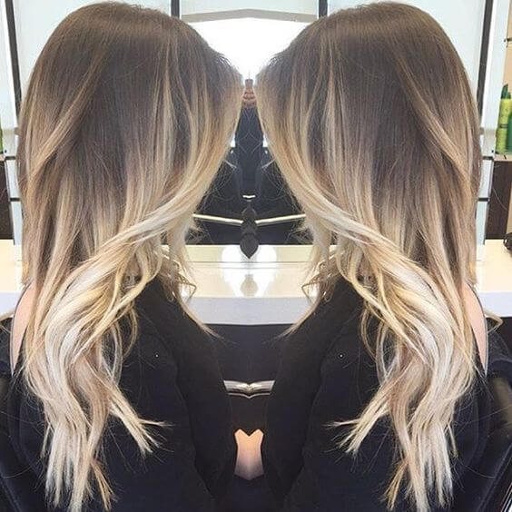 Layered ombre hair with silky waves