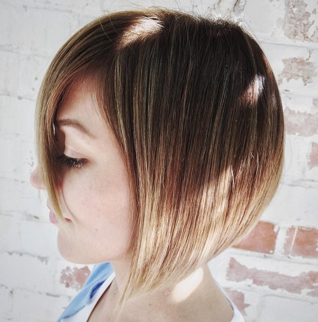 sweet short brunette to blonde ombre graduated bob haircut