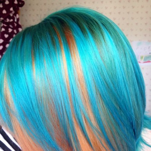 Atomic turquoise and psychedelic sunset short hair with highlights