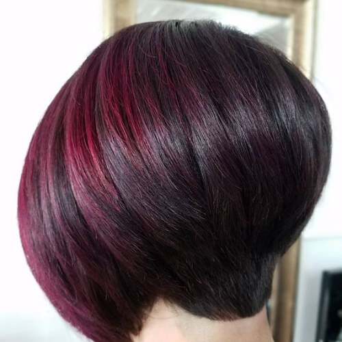 cherry red short hair with highlights