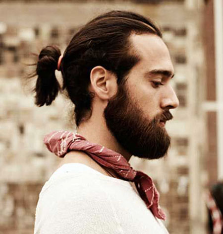 Pony Hairstyle Beard, Men, Wavy, Real, Ponytail, Long, Length