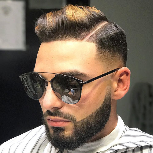 Low fade comb over + full beard