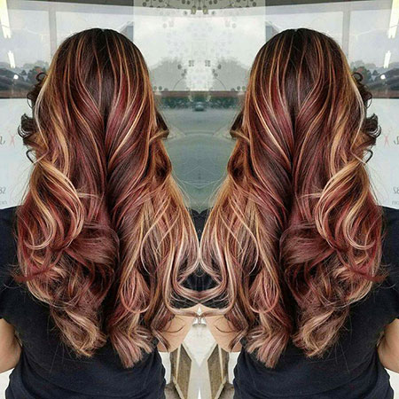 Highlights Brown Burgundy Blonde Red Ombre