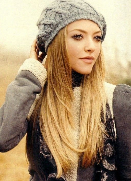 Stylish long straight hair with hat