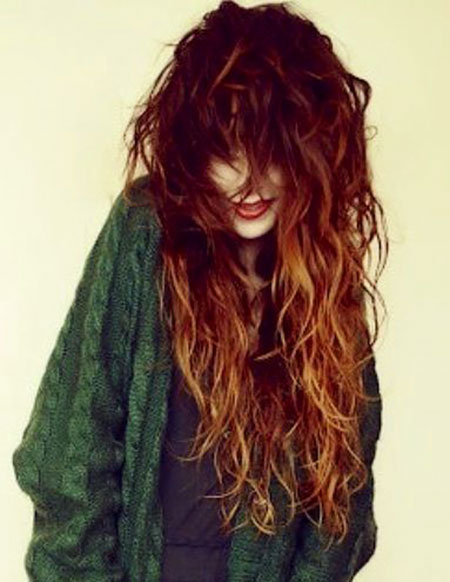 Red Ombre Long Curly Shaggy Redheads Orange Length Curls