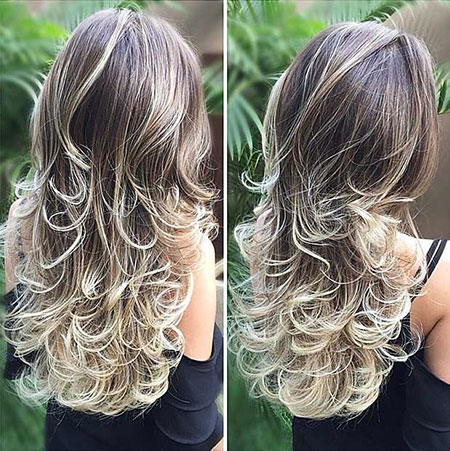 Long Layers of Curly World Straight Ombre Layered Highlights