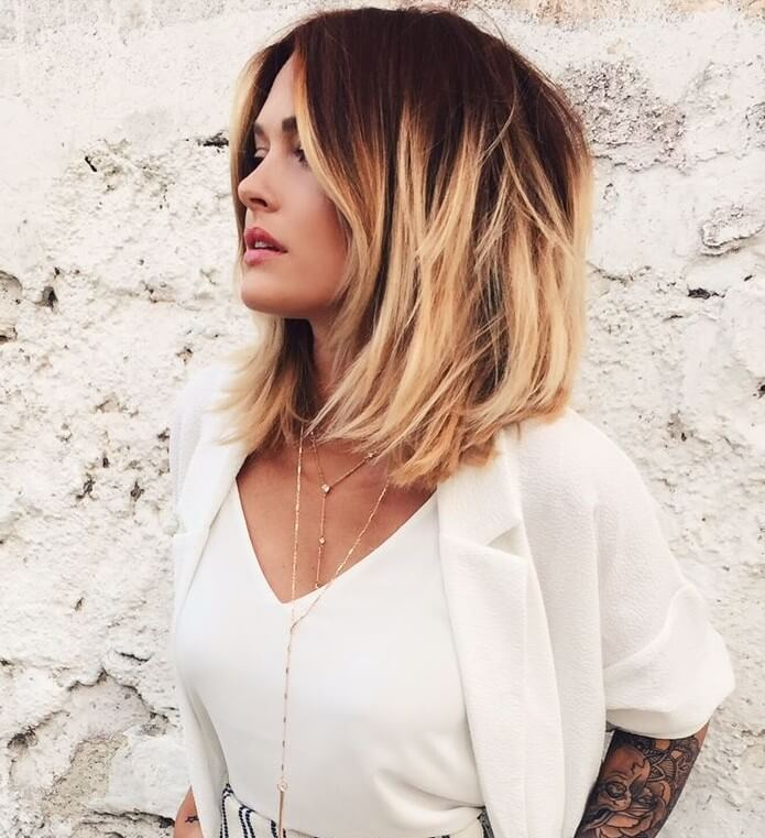 Warm blonde Ombre Bob with facing framing highlights