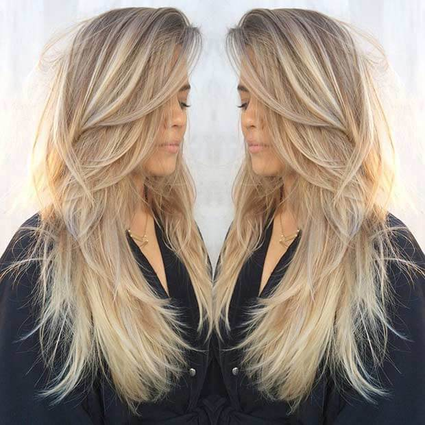 M modern hairstyle for long blond hair