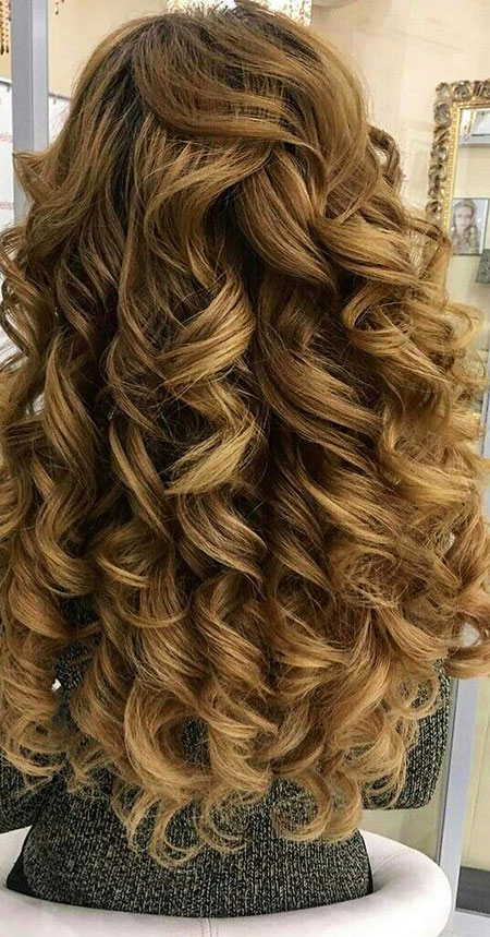 Wedding updo prom long curly bride