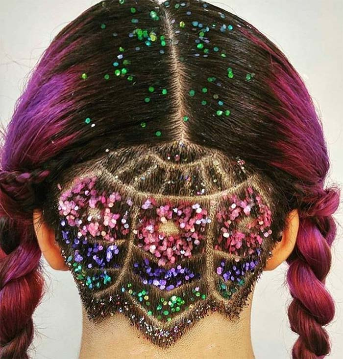 Pigtails hairstyle with undercut