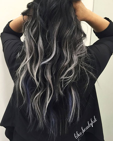 Black Balayage Silver Ombre Highlights Curly Beach