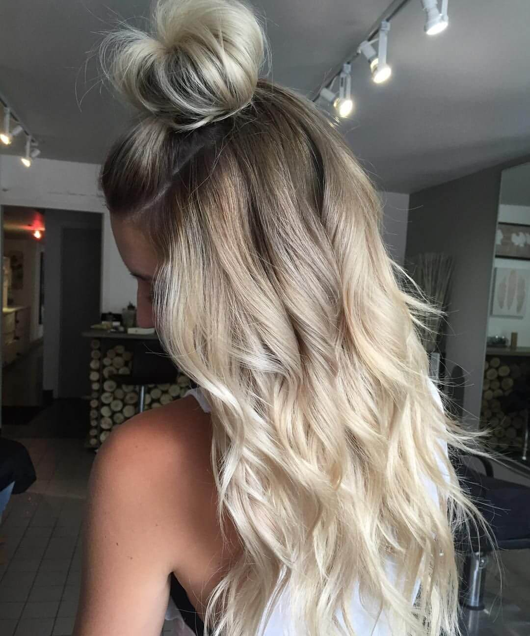 Platinum blonde ombre with cute top knot