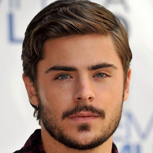 Zac Efron Hairstyles - Long comb over + beard