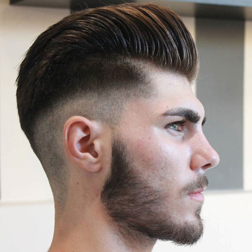 Pompadour + Mid Bald Fade + Facial Hair